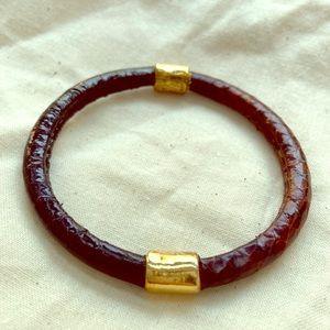 Vintage YSL snake leather bangle bracelet